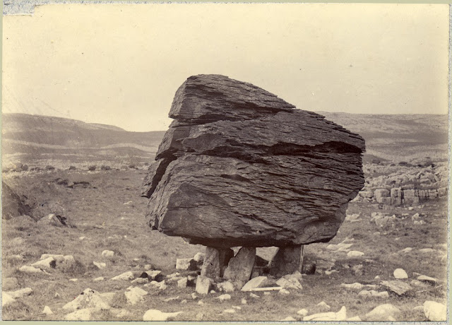 Glacial erratics. Norber, near Clapham. Boulders of Silurian rock perched on Carboniferous Limestone. From the British Association for the Advancement of Science photograph collection. 1896.