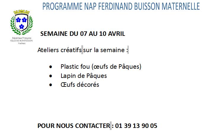 Ecole Ferdinand Buisson Programme Nap Maternelle Du 7 Au 10 Avril