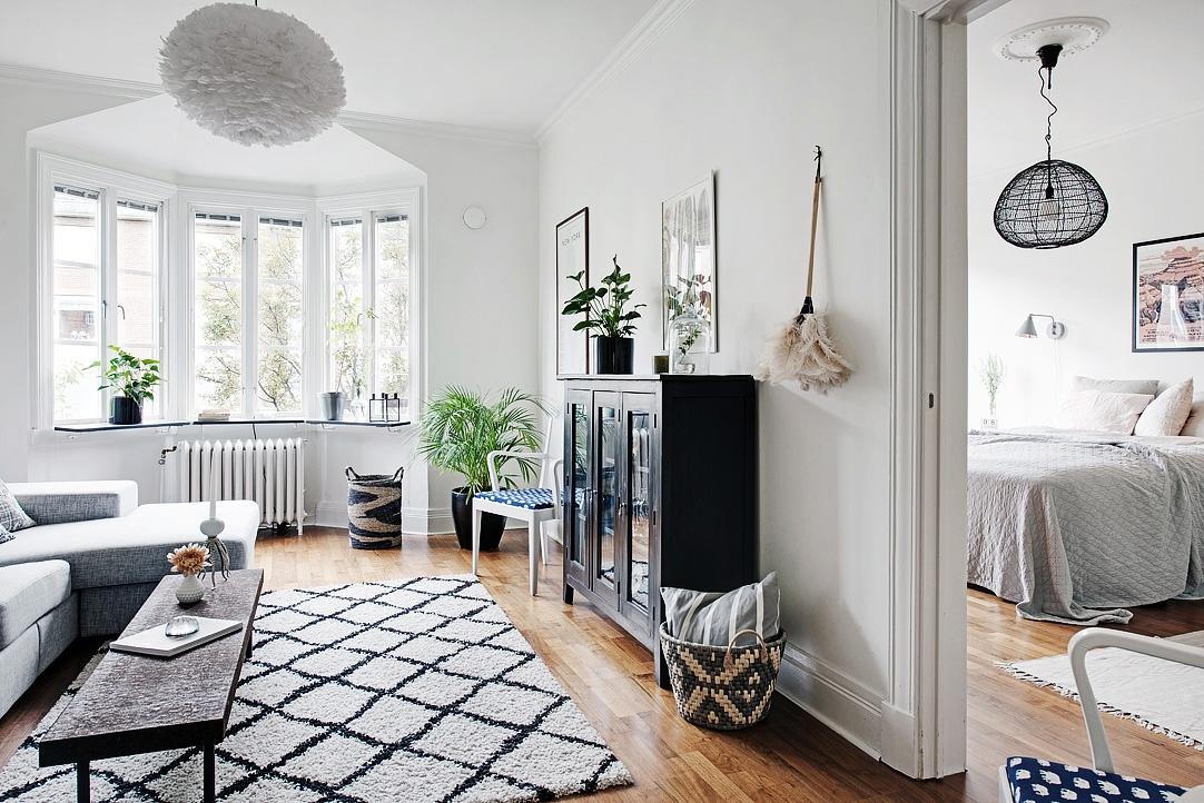 Trendesso chic scandinavian interior in gotheborg - Salones en blanco y negro ...