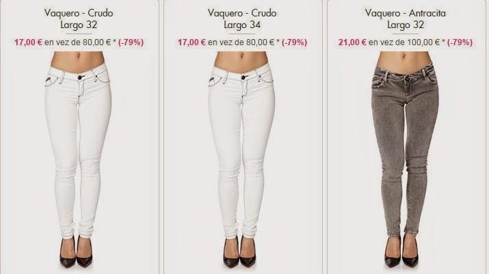 Vaqueros blancos para mujer por 17 euros.