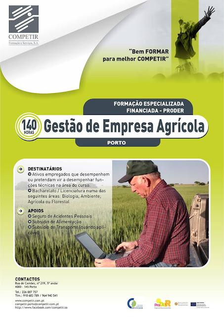 Formação especializada financiada (PRODER) – Gestão da Empresa Agrícola – Porto