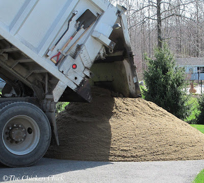 Delivery of construction sand for chicken coops
