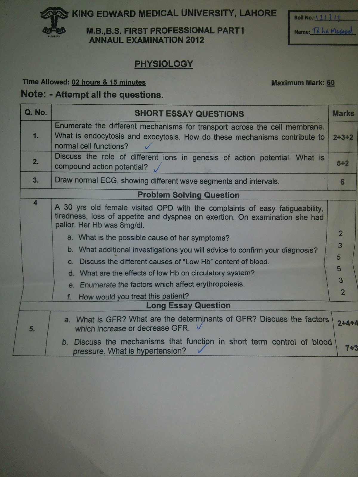 1ST YEAR PAST PAPERS (2012)