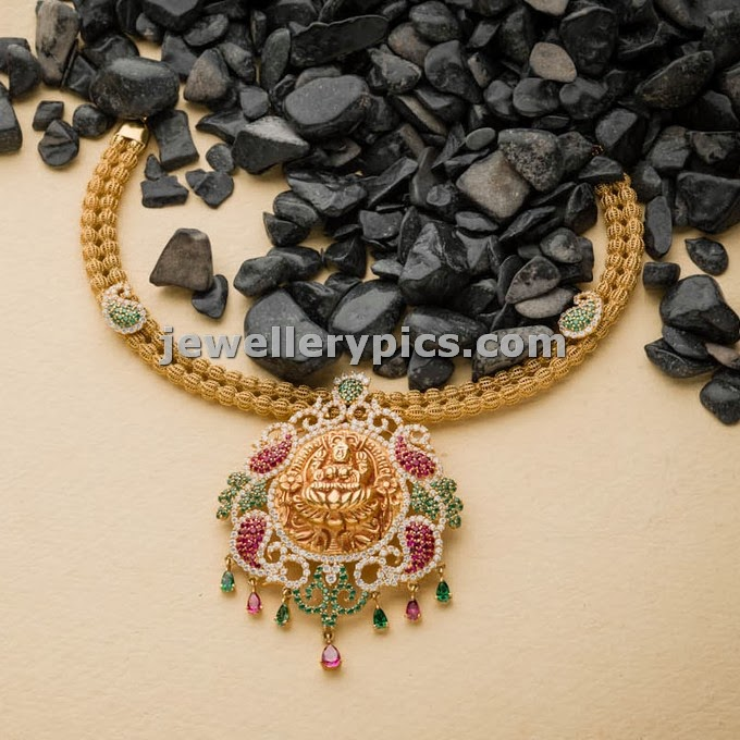 lakshmi devi temple necklace from avr swarnamahal jewellers