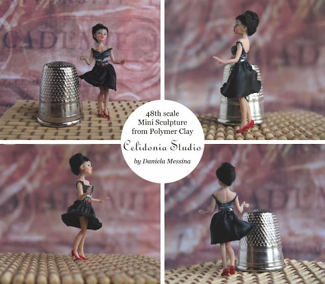 Mini Doll Lady anni 50 - Mini scultura in scala 1/48 modellata in pasta sintetica
