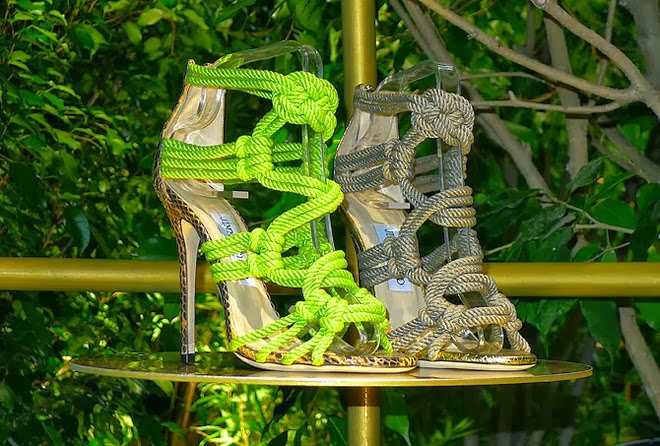 Jimmy choo rope lace up snakeskin sandal