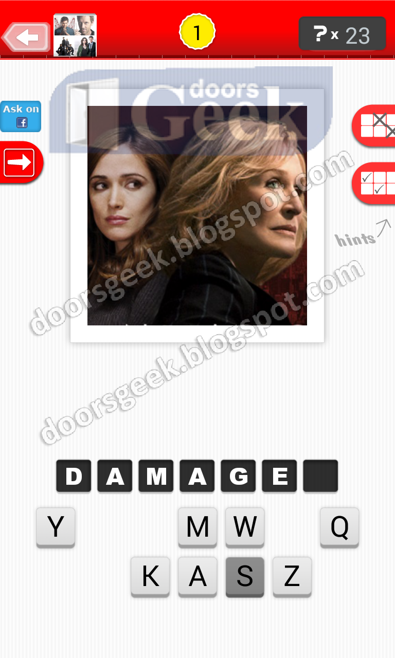 answer damages guess the tv show level 12 1 answer cheats solution for