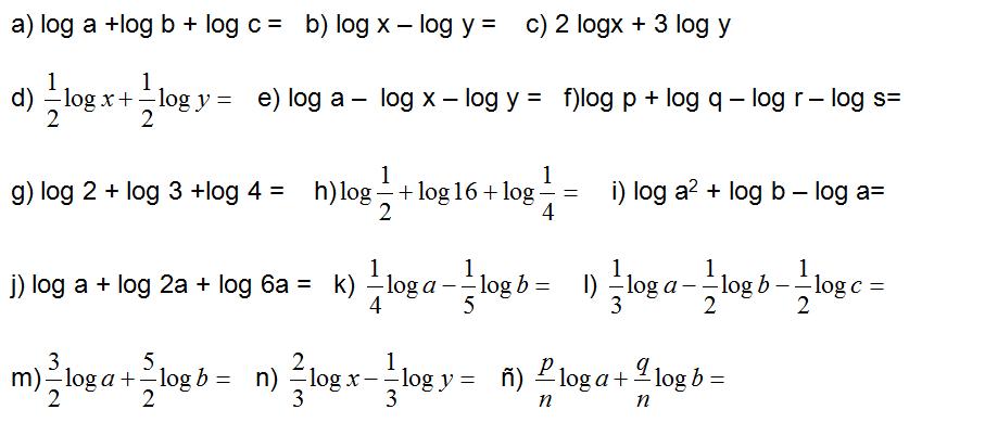 ejercicio propiedad logaritmos