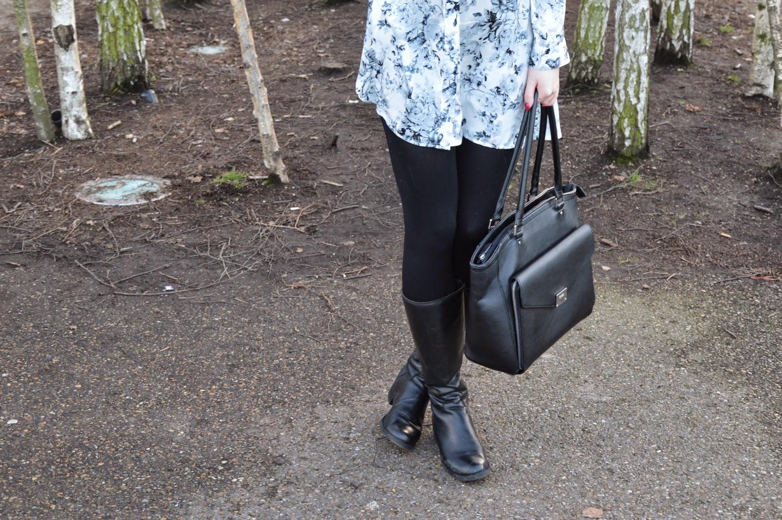 dress, london, shirt, southbank, boots, bag