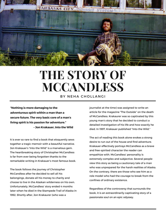 """the foolishness of chris mccandless in into the wild a book by jon krakauer Is chris mccandless a hero or fool christopher chris mccandless in jon krakauer's """"into in the book into the wild by jon krakauer, chris mccandless."""