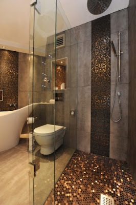 Penny tiled shower floor