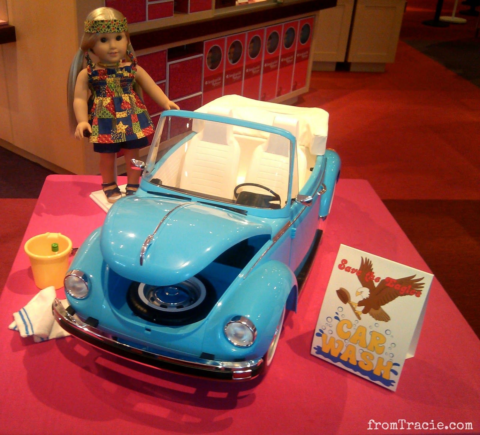 Julie with her blue VW Bug and car wash set | American Girl Doll