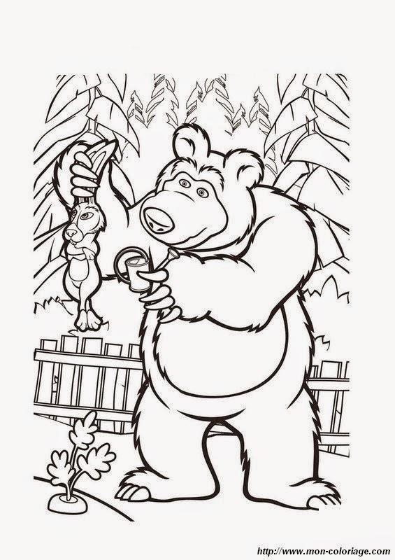 Imágenes de masha y el oso para colorear | Material para maestros ...
