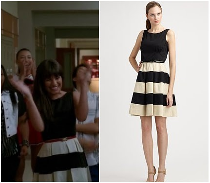 Black  White Striped Dress on Tv  Glee  Season 3 Episode 22 Rachel S Black And White Striped Dress