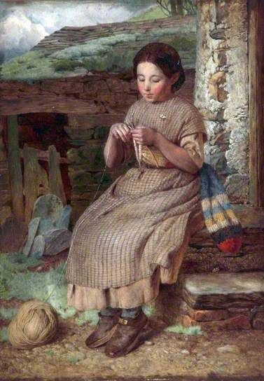 one more stitch 19th century knitting from a painting