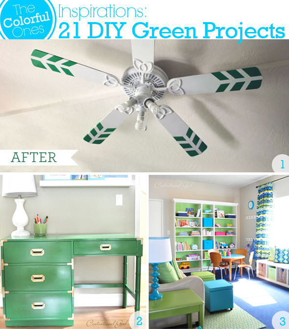 DIY Green Projects - Ceiling Fan, Painted Desk, Play Room Makeover