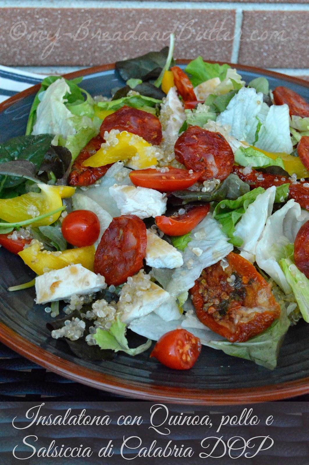 Insalata con Quinoa, pollo e Salsiccia di Calabria Piccante DOP