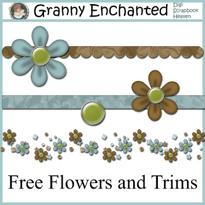 "Free ""Park Day"" Digital Scrapbook Flowers and Ribbons"