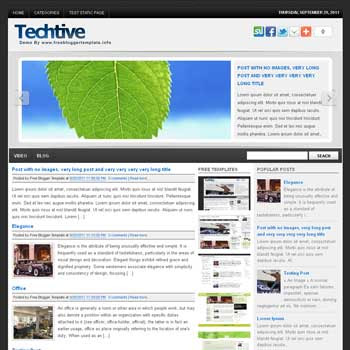 Techtive blogger template. 3 column footer blogspot template