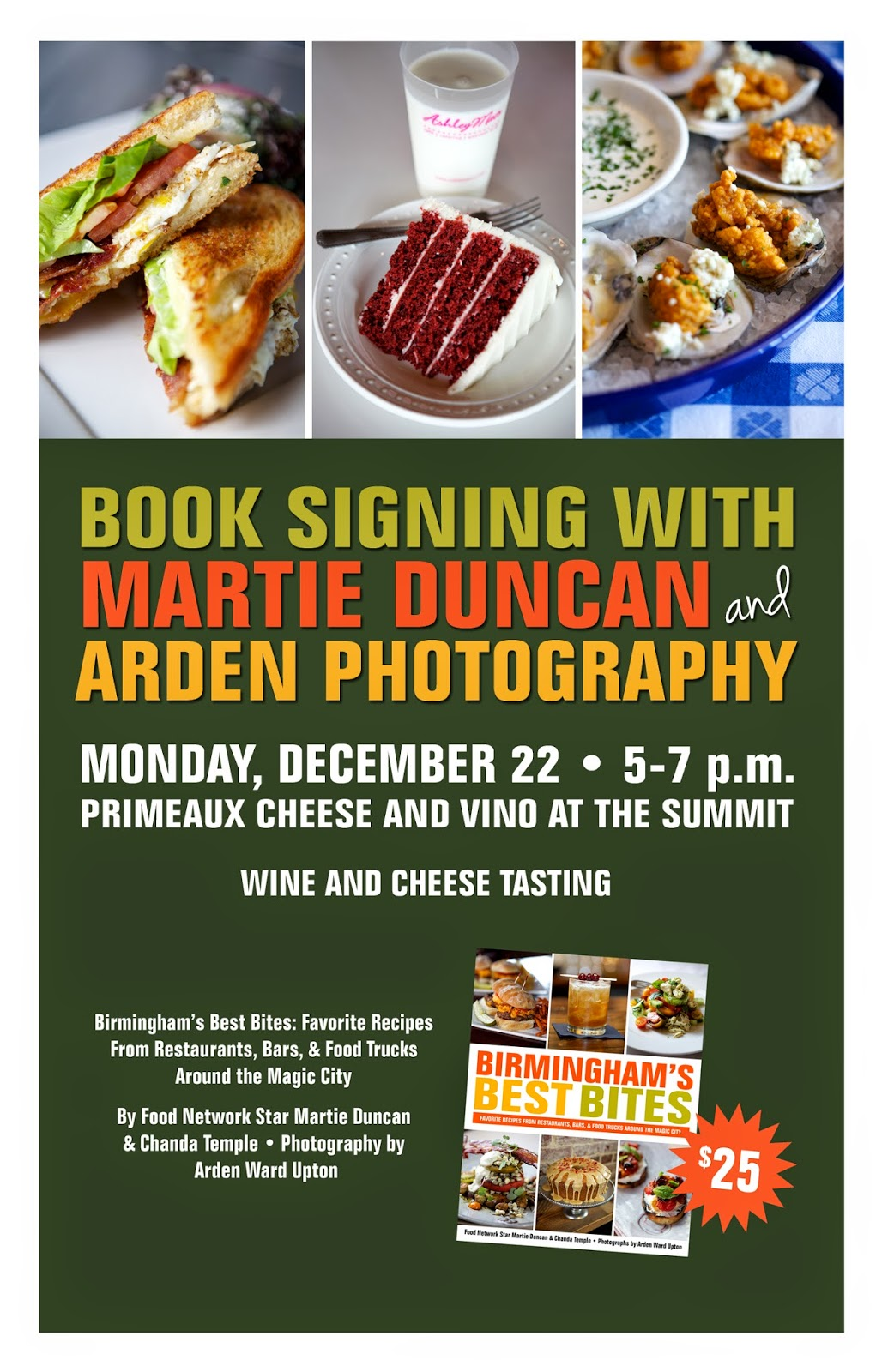 Birmingham public library birminghams best bites cookbook signing food network star finalist martie duncan arden photography and chanda temple will sign copies of the new birminghams best bites cookbook during a wine forumfinder Image collections