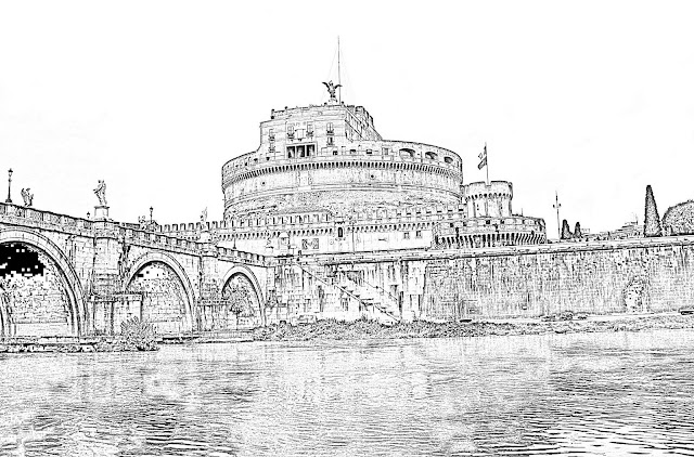 sketch of the Rome castle