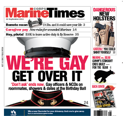 Marine Times cover with headline we're gay get over it