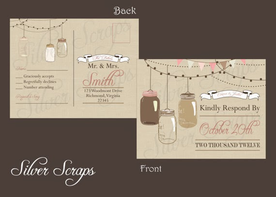 rustic linen RSVP wedding postcard with pink and brown mason jars