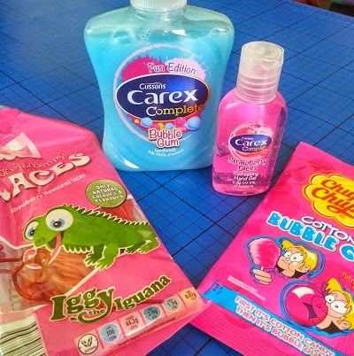 Carex bubblegum hand wash and strawberry laces hand gel