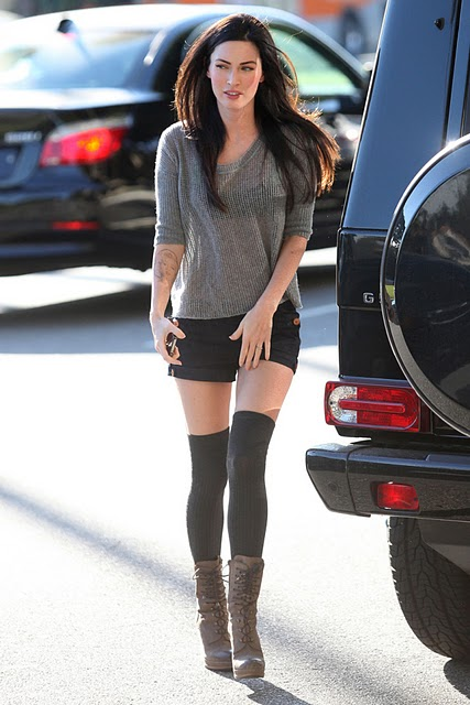 megan fox wearing thigh highs and shoes