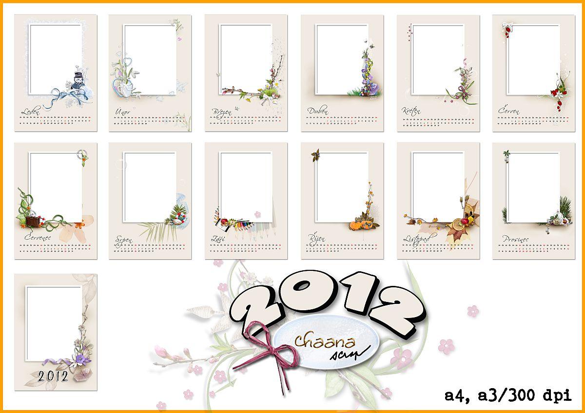 Qp šablony pro nástěnný kalendář 2012