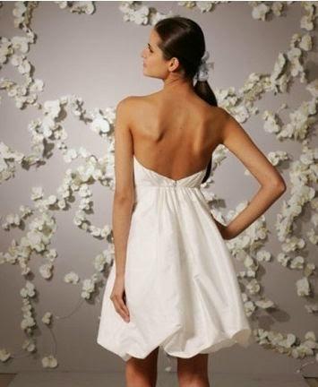 Vestido de Novia Corto con Falda Tipo Globo