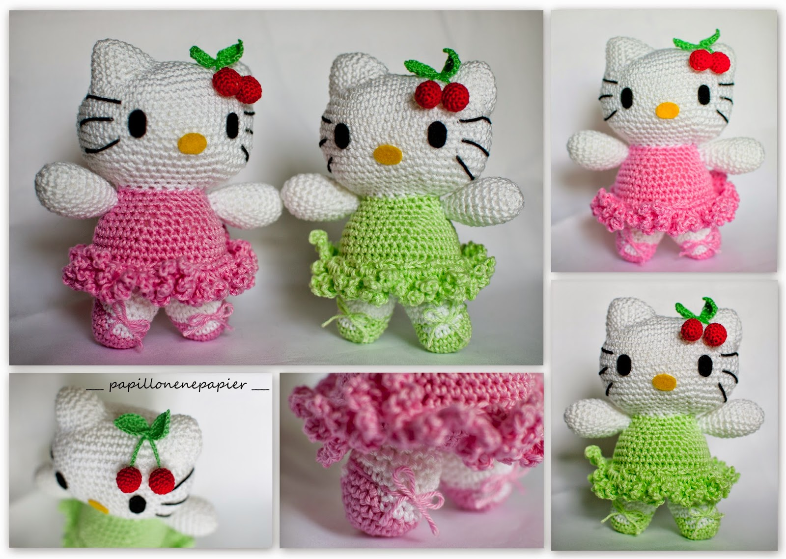 Papillon en papier: Hello Kitty! crochet ami