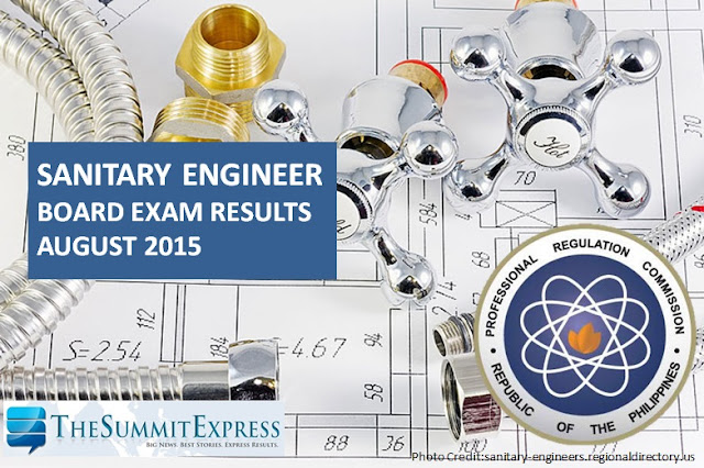 August 2015 Sanitary Engineer board exam results