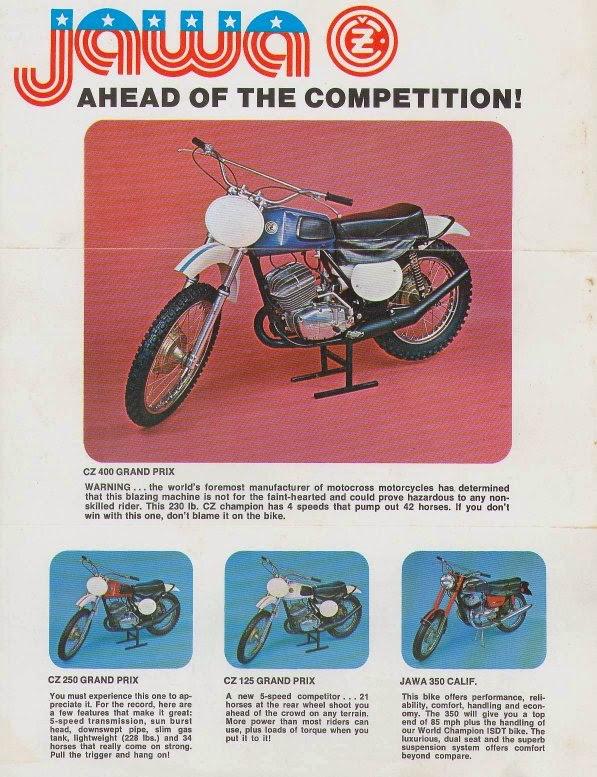 Reklama Jawy modele motocross USA