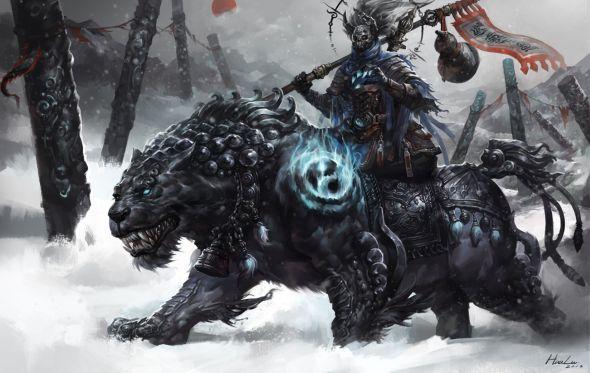 Lu Hua ilustrações arte conceitual fantasia games Tigre negro
