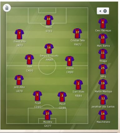 Line-up: Plan B for first line-up (injuries mostly).  Barca Stars