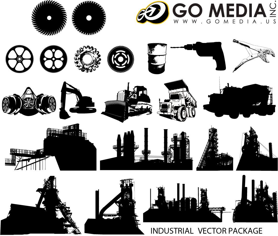 産業機械のシルエット Industrial Equipment Vector Graphics イラスト素材