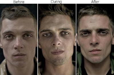 caras de soldado antes y después de la guerra