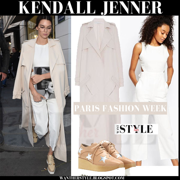 Kendall Jenner in beige Sally Lapointe duster trench coat, white Asos jumpsuit and platform Stella McCartney shoes streetstyle chic models off duty