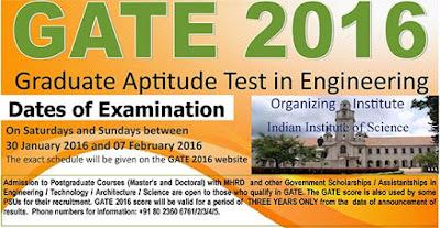 GATE - Graduate Aptitude Test in Engineering 2016