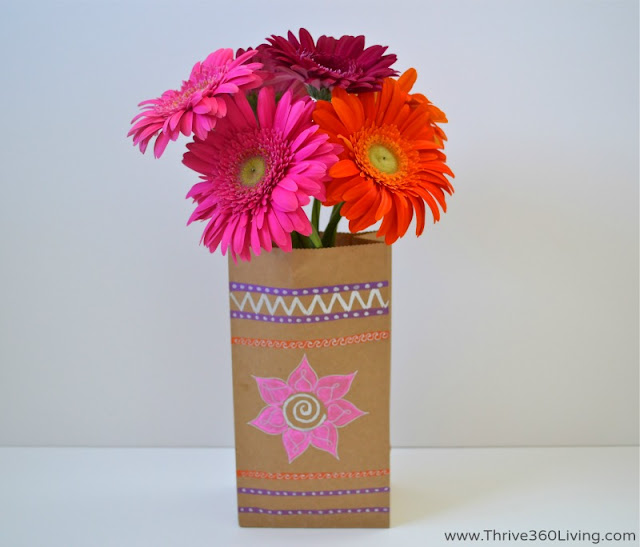 Easy to make painted paper bag vase.