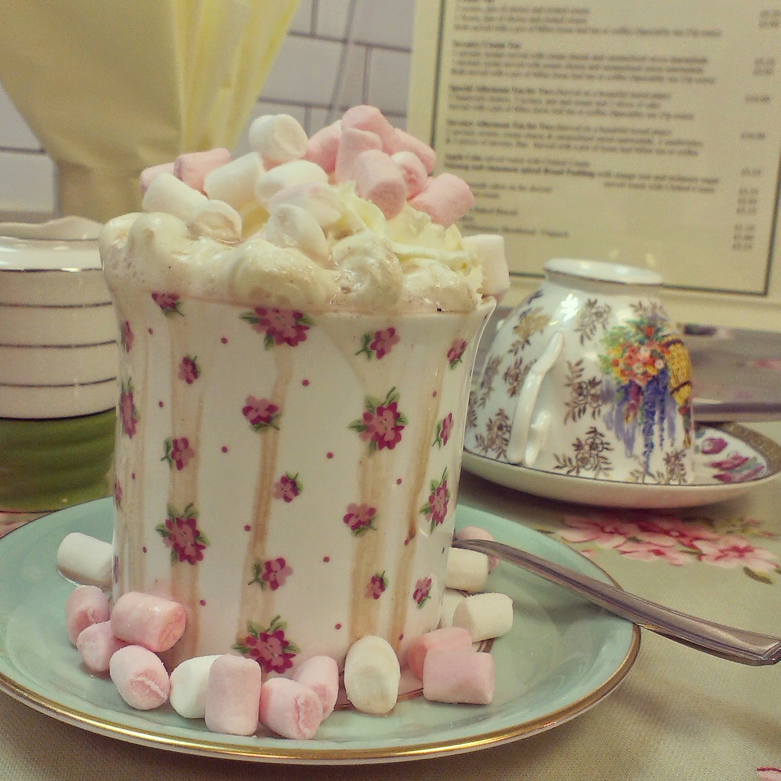 Hot Chocolate at Sally's Vintage Chic tea rooms, Minehead