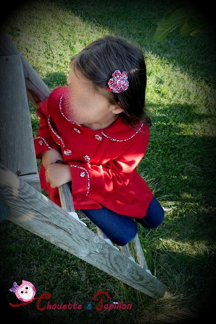 barrette liberty betsy ann rouge pour enfant - forme fleur