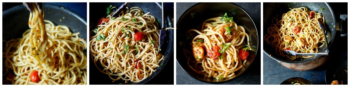 a basic pasta dish with garlic,olive oil and shrimps.. fabulous and easy dinner ready in 20 minutes
