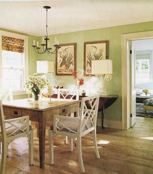 Sybaritic spaces blue green and dining rooms for Light green dining room