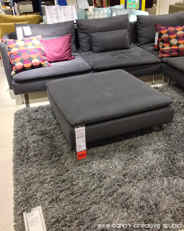 grey area rug, IKEA shopping finds, grey couch, IKEA couch, living room ideas, marsala pillows