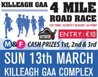 New 4 mile race in Killeagh in East Cork...13th March 2016
