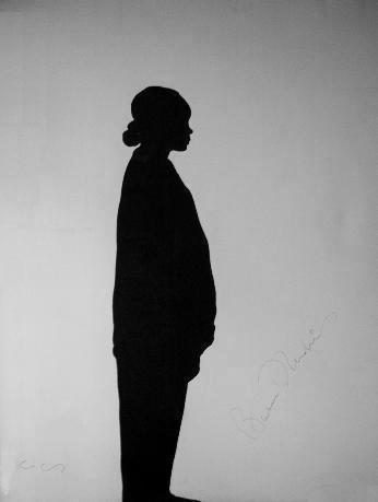 Barbara Hendricks's shadow - 1995. Acrylic on canvas 78 ¾ X 59 1/8 in. Signed by Klaus Guingand and Barbara Hendricks