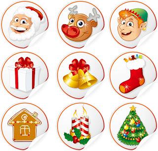 新年とクリスマスに因んだアイコン・素材 Cartoon Christmas badges イラスト素材4