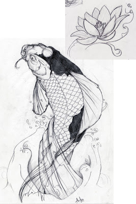 Koi Fish Tattoo Designs Sketch Collection 4